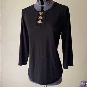 classy black and gold detail stretch blouse